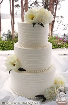 ruffled buttercream wedding cakes   Google Search   Wedding Cakes     Design W 0671   Butter Cream Wedding Cake   10  8  6    Serves 75    Horizontal textured buttercream  Fresh Flowers   Standard Price  Wedding  Cake