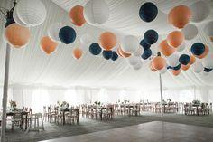 NAVY / PEACH / WHITE paper lanterns - Crossed Keys Inn Wedding from Bia Sampaio Photography