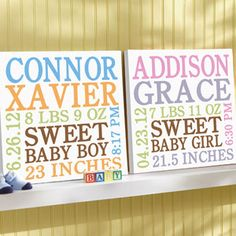 """Personalized Baby Info Canvas, Blue, 11"""" x 11"""" . Wal-Mart $25"""