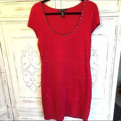 INC body con dress INC red body con dress with beading detail around neckline. INC International Concepts Dresses Mini