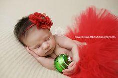 Newborn Christmas Tutu Set Sweet Merry Little Christmas Tutu Set Red Tutu With Matching Flower Headband