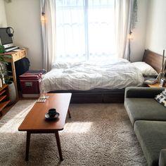 sowさんの、部屋全体,ラグ,ローテーブル,DIY,北欧,グリーンのある暮らし,コーヒーカップ,ベンガレンシス,PFS,一人暮らし,カーテン,無印良品,グラフチェック,シンプル,iMac,コールマン,ソファ,セミダブルベッド,のお部屋写真