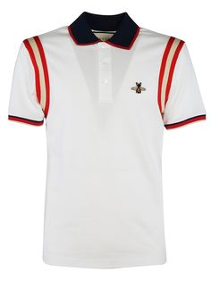 Bee Embroidered Polo Shirt from Gucci: White/Multicolor Bee Embroidered Polo Shirt with classic collar, front button placket, bee embroidered to the chest, striped trim, short sleeves and straight hem. Gucci Polo Shirt, Gucci Jeans, Gucci Shirts, Best Polo Shirts, Cute Shirts, Louis Vuitton Shirts, Embroidered Polo Shirts, Gucci Outfits, Dress Attire