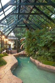 Greenhouse Orangery and indoor pool all in one! garden-greenhouse… Greenhouse orangery and indoor pool in one ! Best Greenhouse, Backyard Greenhouse, Greenhouse Plans, Pool Garden, Swimming Pools Backyard, Indoor Pools, Pool Landscaping, Small Indoor Pool, Large Backyard