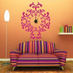 Relógio Ornamental em vinil autocolante decorativo de parede - com mecanismo de relógios. - www.iconstore.pt