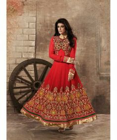 RAVISHING RED GEORGETTE ANARKALI SUIT  Be the show-stopper with this ravishing red georgette full length royal look anarkali suit. The suit is beautified with zari, resham embroidery, diamond work & patch patta work. A stylish salwar,  beautiful chiffon dupatta completes the look.