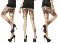Art Nouveau Leggings | Online Legging Store leggings,galaxy,black,bones,pink