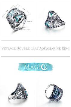 Vintage Double Triangle Aquamarine Ring
