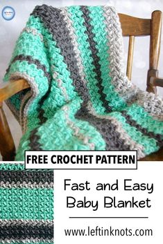 Use this free crochet pattern and chunky yarn to make a fast and easy baby blanket using the bean stitch. This beginner friendly pattern includes a video tutorial, and the blanket can easily be made larger for a throw or afghan. Crochet Baby Blanket Free Pattern, Easy Crochet Blanket, Baby Afghan Crochet, Afghan Crochet Patterns, Chunky Crochet Blankets, Easy Baby Blanket, Baby Blankets, Fast Crochet, Modern Crochet Patterns