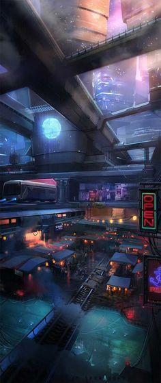 Ideas Science Fiction Concept Art Cyberpunk For 2019 Cyberpunk City, Cyberpunk Kunst, Cyberpunk Aesthetic, Futuristic City, Futuristic Architecture, Architecture Art, Concept Art Landscape, Fantasy Landscape, Future City