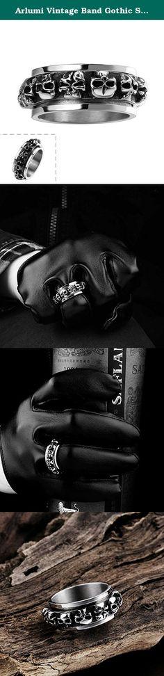 Arlumi Vintage Band Gothic Skull Punk Men's Biker Stainless Steel Wedding & Engagement Ring, Black Silver. Description: *316L Stainless Steel, Titanium Steel, Vintage Handmade, Well Polished Finish *It will Never Get Fade / Tarnished *Size: 8,9,10,11; Width*Lenth: 2.9*1.0cm, Weight: 14.5 g *Unique and stylish, Style: Punk, Rock, Party, Fit For: Man, Woman, Couple, Lovers, Boy, Girl. Fun for a pirate theme birthday party favor. Add to a pirate costume for Halloween *Silver Black Celtic…