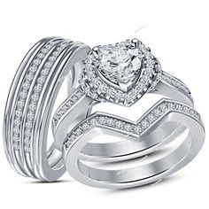 Heart Shape 925 Sterling Silver 14k White Gold Plated Trio Engagement Ring With Sim Diamond. Starting at $1
