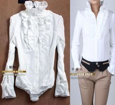 Overlong shirt could be modified into bodysuit.