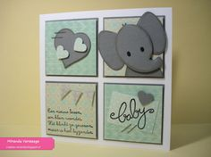 Card by Miranda with Collectables Eline's Elephant from Marianne Design Baby Boy Cards, Baby Shower Cards, Karten Diy, Baby Shower Invitaciones, Kids Birthday Cards, Baby Christening, Marianne Design, Congratulations Card, Animal Cards