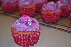 2 color pink and purple vanilla cupcakes with purple buttercream icing