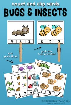 Free printable bugs and insects count and clip cards for preschool, prek, and kindergarten. #preschool #prek #kindergarten #homeschool #prekactivities #preschoolactivities #kidsactivities #math #bugsandinsects #inmygarden #freeprintables #countandclip #teacherspayteachers