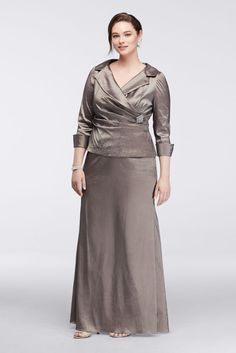 Taffeta Plus Size Long Mock Two-Piece Mother of Bride/Groom Dress with 3/4 Sleeves - Taupe (Brown), 18W