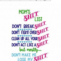 Mom's Shit List – Mom – Kitchen – Cooking – Towel Design – 2 Sizes Included – Embroidery Design – DIGITAL Embroidery DESIGN – Nana's Handmade Baby Boutique