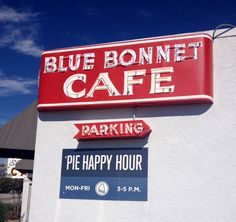 You can't miss the classic cooking and pies at Blue Bonnet Cafe in Marble Falls, Texas!