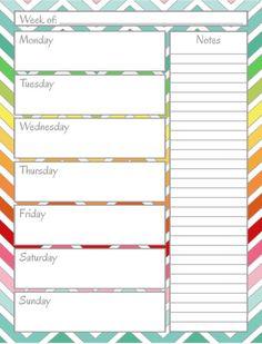 FREE PRINTABLE: Home Management Binder - Weekly Calendar. great organization!!! like if you print or pin!!!!! thx!!! :) :) :)