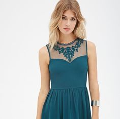 Forever 21 Embroidered Fit And Flare