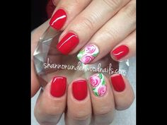 Gelish Rose Nail Art - YouTube