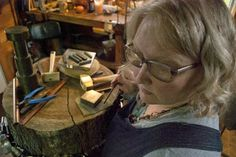Stephanie Distler Artisan Jewelry in her garden home studio, Elk County