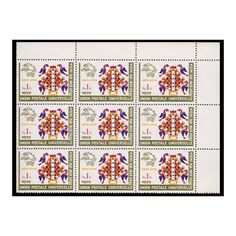 The Universal Postal Union was founded in Berne, Switzerland, in 1874. This 1 rupee Universal Postal Union Stamp was issued on 03-Oct-74, The Multicolor stamps depicts birds, nest and U.P.U. Emblem. Get this Block of 9 stamps with upper right margin with very good condition only on Mintage World. Sell Coins, Buy Stamps, Switzerland, Nest, Birds, Indian, Quilts, World, Nest Box