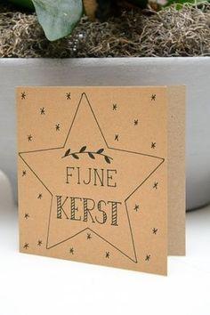 Fijne Kerst Chrismas Cards, Diy Holiday Cards, Xmas Cards, Diy Cards, Hand Lettering Alphabet, Doodle Lettering, Christmas Text, Kids Christmas, Diy Postcard