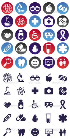 Buy Vector Medical Icons and Signs by venimo on GraphicRiver. Vector medical icons and signs – circle buttons and pictograms. EPS and AI files, 1 transparent PNG file . Science Symbols, Science Icons, Medical Icon, Medical Logo, Biology Poster, Hospital Signage, Science Classroom Decorations, Box Icon, Cards