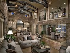 Traditional Living Room with High ceiling, Pendant light, Exposed beam, flush light, Alaterre Craftsman Coffee Table, Balcony