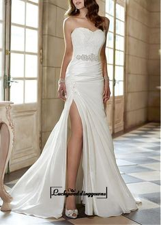 $199. Attractive Taffeta Sheath Sweetheart Neckline Natural Waist Slit Floor Length Wedding Dress