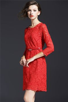 Belted Long Sleeve Dress in Red