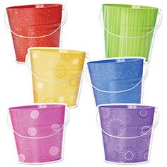 "Are you filling your bucket? Buckets 10"" Jumbo Designer Cut-Outs are perfect for any bucket filling activity or summer decorating."
