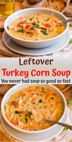 This slightly creamy easy Leftover Turkey Corn Soup comes together in about 30 minutes and tastes so Easy Leftover Turkey Recipes, Leftover Turkey Casserole, Leftovers Recipes, Turkey Leftovers, Creamy Turkey Soup, Homemade Turkey Soup, Best Turkey Soup, Turkey Stew, Mulligatawny
