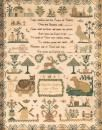 A Victorian linen cross-stitch needlework sampler, English, 19th century worked by Mary Ann Claggett and dated 1843