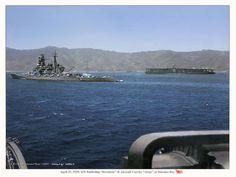 Still at peace, the Japanese battleship Kirishima and the carrier Akagi at anchor in 1939.