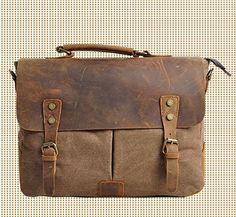 Leather Canvas cross- body Bag / Briefcase / Messenger Bag / 14'  Laptop Bag / 13' 15' MacBook / Satchel (M1807-Khaki)
