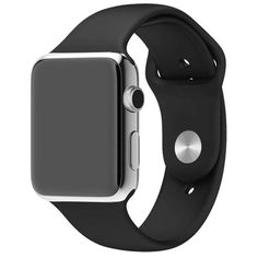 Silicone Band for Apple Watch Series 1/2 Black iWatch Wrist Soft Sport Strap New #FanTEK