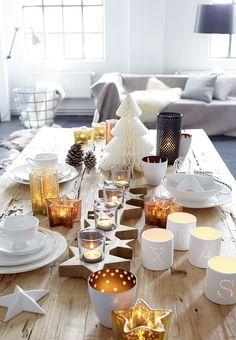 Teelichthalterleiste, Holz, Als Tischdeko, Weihnachtsdeko.