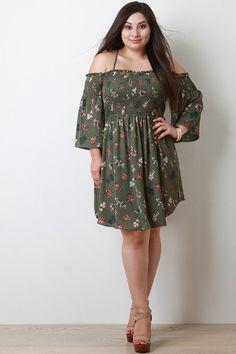 Floral Print Smocked Bell Sleeves Dress