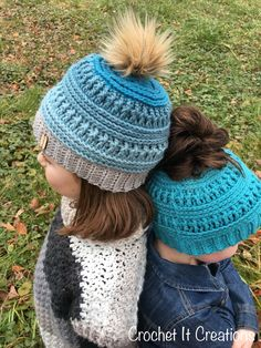 The Gracie Messy Bun Beanie - Crochet it Creations