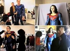 Nicolas Cage testing the Superman costume for Tim Burton's canceled movie Superman Lives