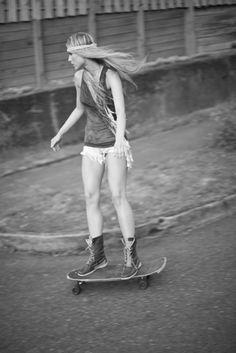 skateboarding | skater chick | boho | hippy | freedom | black & white | skateboard | rad |