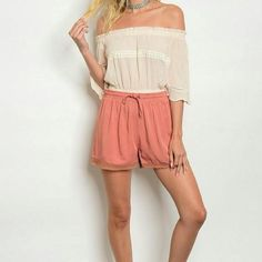 Crochet Trimmed Shorts, Rayon Shorts, Trendy Shorts for Summer, Shop