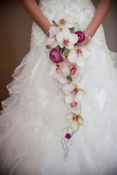 Elegant & Unique Slender Cascading Bridal Bouquet Which Encompasses: White/Pink Phalaenopsis Orchids, Fuchsia Ranunculus, Green Lamb's Ear, Arranged With Sterling Silver Jeweler's Wire<<<<