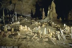 In 1992, a cave in south west France was discovered with around 400 structures made from broken stalagmites, about 1100 feet (336 metres) from the cave¿s entrance (pictured). A team of researchers at the University of Bordeaux have dated the structures to 176,000 years ago