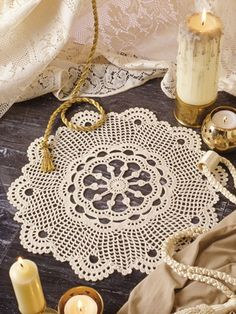 "Graceful scallops radiate out from the center of this unique doily. Kit includes enough size 10 crochet cotton thread to complete 1 doily. Size: 14 1/2"" across."