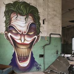 @powwowdc Newly completed #mural by DavidL of the 「Joker」 in Oviedo, Spain
