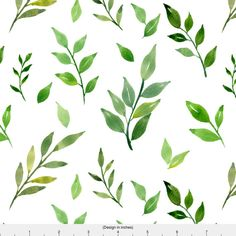 Green and White Spring Fabric Spring Leaves By by Spoonflower